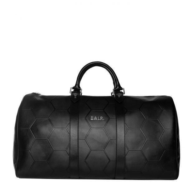 Balr. Hexagon AOP Embossed Leather Duffle Bag black Weekendtas