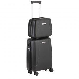 CarryOn Skyhopper 4 Wiel Trolley 55 + Beautycase Set black Harde Koffer