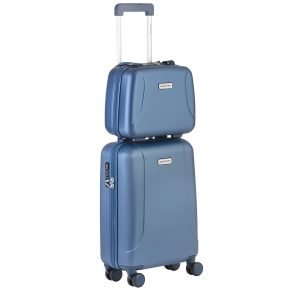 CarryOn Skyhopper 4 Wiel Trolley 55 + Beautycase Set blue Harde Koffer
