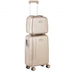 CarryOn Skyhopper 4 Wiel Trolley 55 + Beautycase Set champagne Harde Koffer