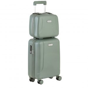 CarryOn Skyhopper 4 Wiel Trolley 55 + Beautycase Set olive Harde Koffer