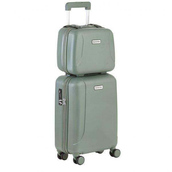 CarryOn Skyhopper 4 Wiel Trolley 55 + Beautycase Set olive Harde Koffer