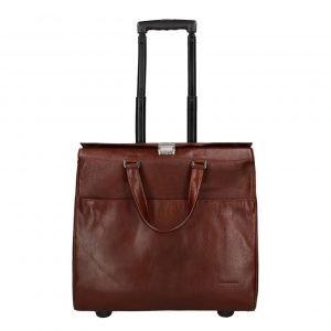 "Claudio Ferrici Legacy Business Trolley 15.6"" brown Zachte koffer"