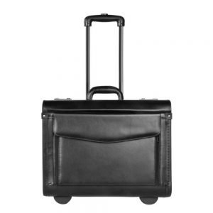 Dermata Business Leather Pilottrolley zwart Handbagage koffer