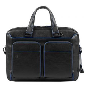 Piquadro Blue Square Portfolio Computer Briefcase with iPad 10.5 black