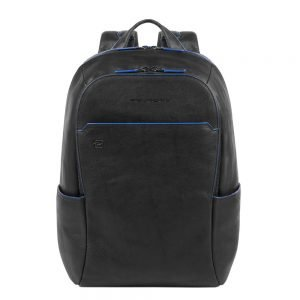 """Piquadro Blue Square Small Size Computer Backpack with iPad 10.5"""" black backpack"""