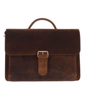 "Plevier Retro Darwin Old School Bag 15.6"" donkerbruin Leren tas"