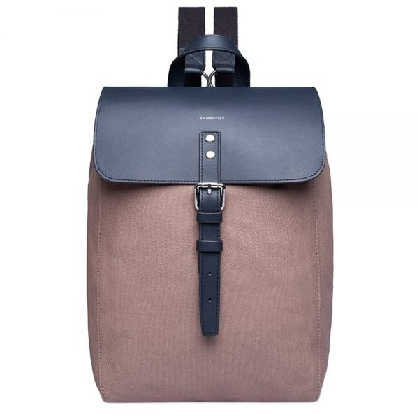 Sandqvist Alva Backpack S earth brown with navy leather backpack