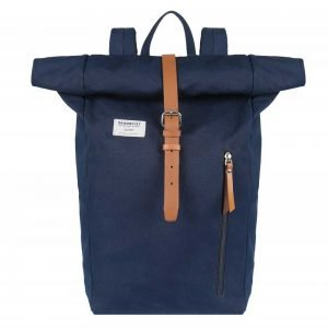 Sandqvist Dante Backpack blue with cognac brown leather backpack