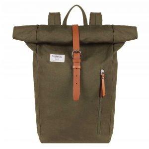 Sandqvist Dante Backpack olive with cognac brown backpack