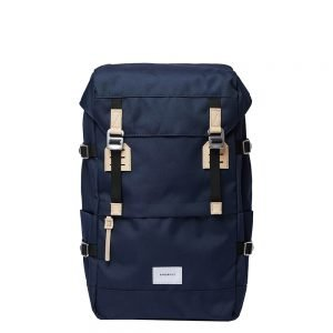 Sandqvist Harald Backpack navy with natural leather backpack