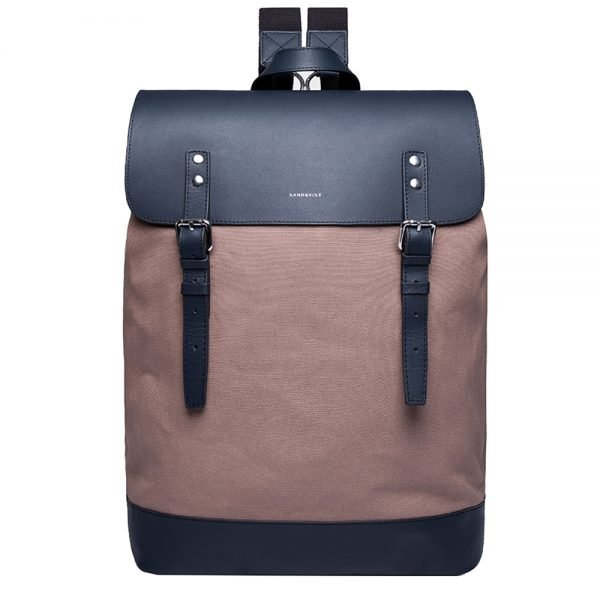 Sandqvist Hege Backpack earth brown with navy leather backpack