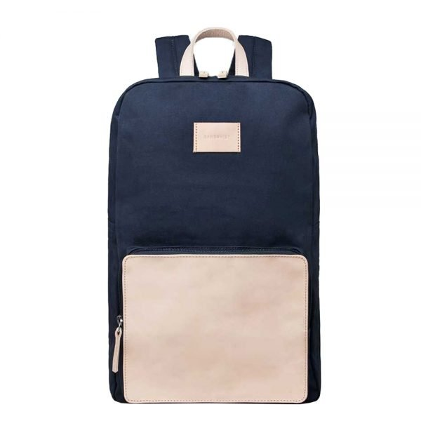 Sandqvist Kim Grand Backpack blue with natural leather backpack