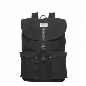Sandqvist Roald Backpack black with black leather backpack