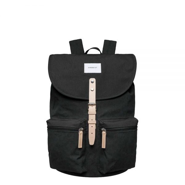 Sandqvist Roald Backpack black with natural leather backpack