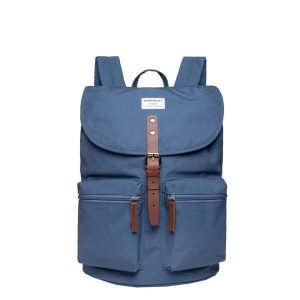 Sandqvist Roald Backpack dusty blue with cognac brown leather backpack