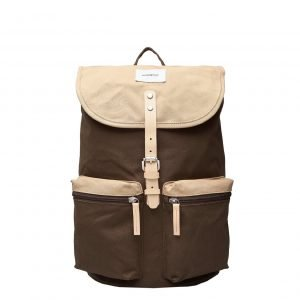Sandqvist Roald Backpack multi olive / beige with natural leather backpack