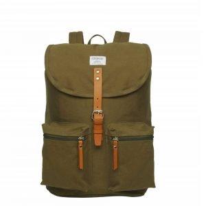 Sandqvist Roald Backpack olive with cognac brown backpack