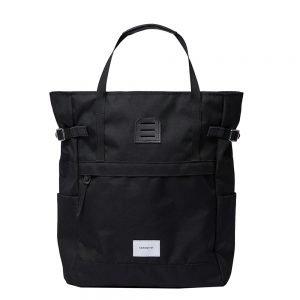 Sandqvist Roger Backpack black with black leather backpack