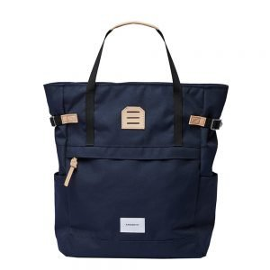 Sandqvist Roger Backpack navy with natural leather backpack