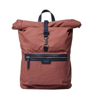 Sandqvist Siv Backpack maroon with navy leather backpack
