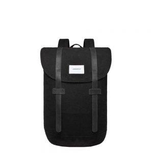 Sandqvist Stig Backpack black with black leather backpack