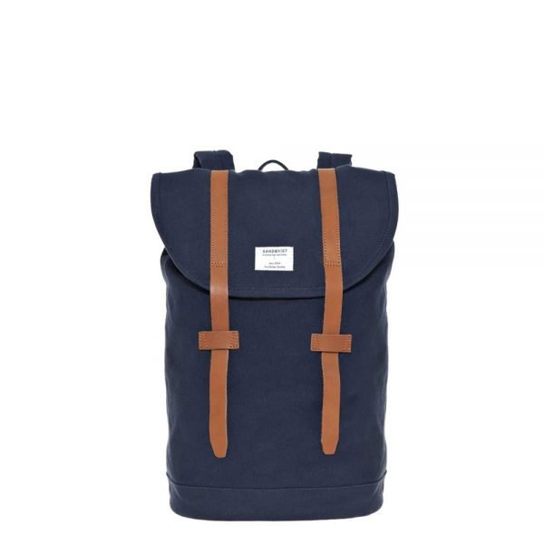 Sandqvist Stig Backpack blue with cognac brown leather backpack