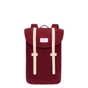 Sandqvist Stig Backpack burgundy with natural leather backpack