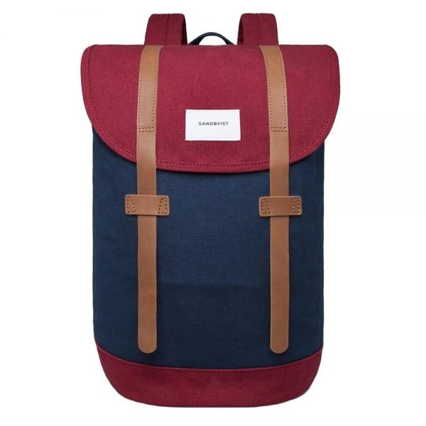Sandqvist Stig Backpack multi blue / burgundy backpack