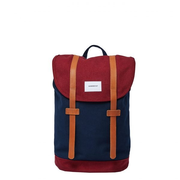 Sandqvist Stig Backpack multi navy / burgundy with cognac brown leather backpack