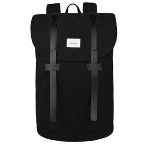Sandqvist Stig Large Backpack black with black leather backpack