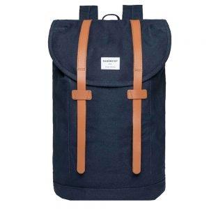 Sandqvist Stig Large Backpack blue with cognac brown leather backpack