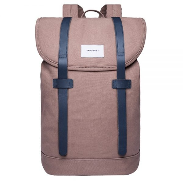 Sandqvist Stig Large Backpack earth brown with navy leather backpack