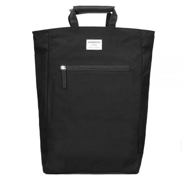 Sandqvist Tony Backpack black with black leather backpack