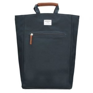 Sandqvist Tony Backpack blue with cognac brown leather backpack