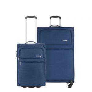 Travelbags Lissabon Kofferset - 2 delig - 55 cm 2 wiel + 77 cm 4 wiel - dark navy