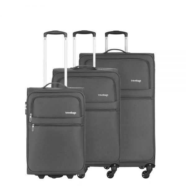 Travelbags Lissabon Kofferset - 3 delig - 55 cm 2 wiel + 67 cm 4 wiel + 77 cm 4 wiel - dark grey