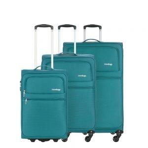Travelbags Lissabon Kofferset - 3 delig - 55 cm 2 wiel + 67 cm 4 wiel + 77 cm 4 wiel - jade