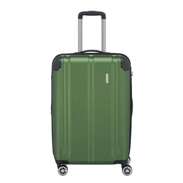 Travelite City 4 Wiel Trolley M Expandable green Harde Koffer