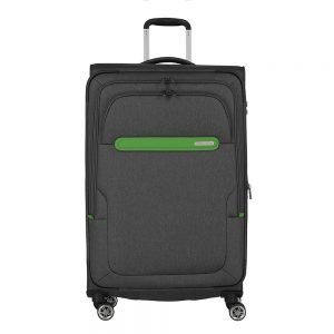 Travelite Madeira 4 Wiel Trolley L Expandable anthracite/green Zachte koffer