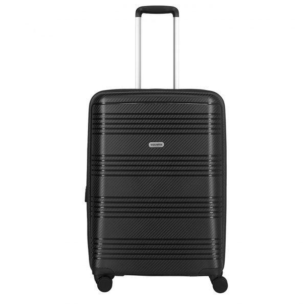Travelite Zenit 4 Wiel Trolley M Expandable black Harde Koffer