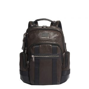 Tumi Alpha Bravo Leather Nathan Backpack dark brown backpack