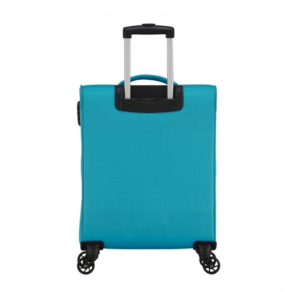American Tourister Heat Wave Spinner 55 sporty blue Zachte koffer van Polyester