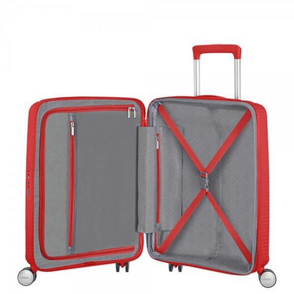 American Tourister Soundbox Spinner 55 Expandable coral red Harde Koffer van Polypropyleen
