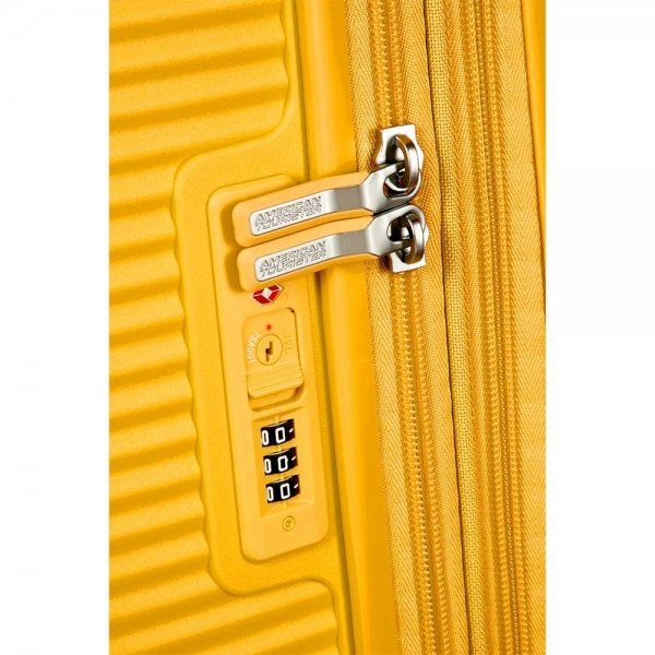 American Tourister Soundbox Spinner 55 Expandable golden yellow Harde Koffer