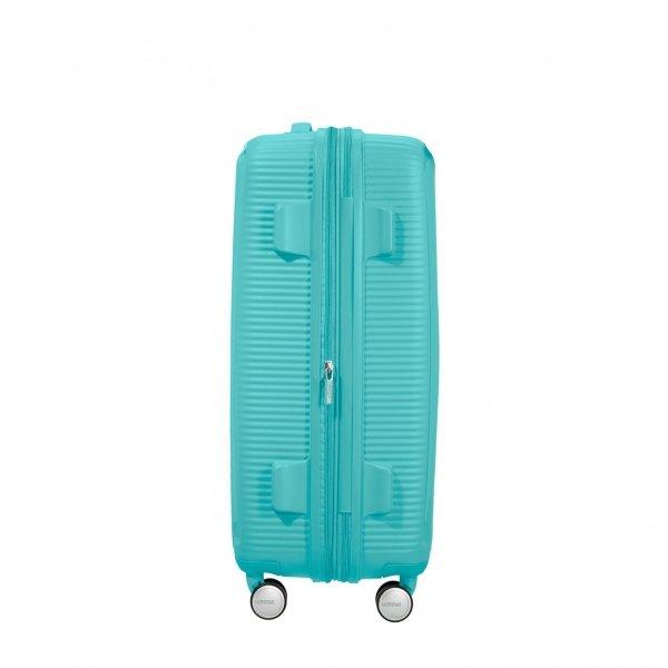 American Tourister Soundbox Spinner 67 Expandable poolside blue Harde Koffer van Polypropyleen