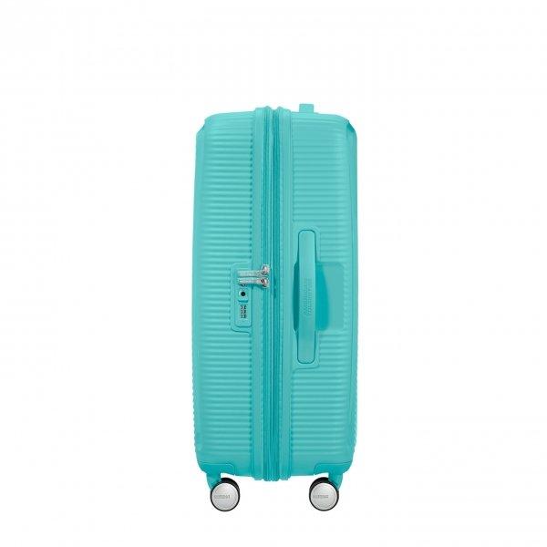 American Tourister Soundbox Spinner 67 Expandable poolside blue Harde Koffer