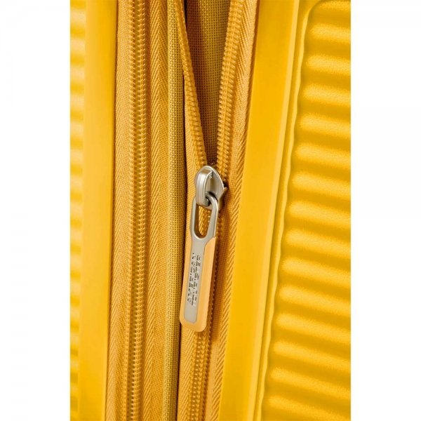 American Tourister Soundbox Spinner 77 Expandable golden yellow Harde Koffer van Polypropyleen