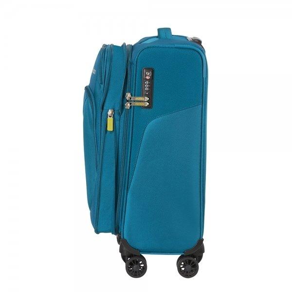 American Tourister Summerfunk Spinner 55 Expandable teal Zachte koffer van Polyester