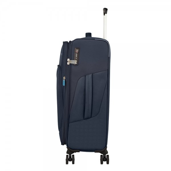 American Tourister Summerfunk Spinner 67 Expandable navy Zachte koffer van Polyester